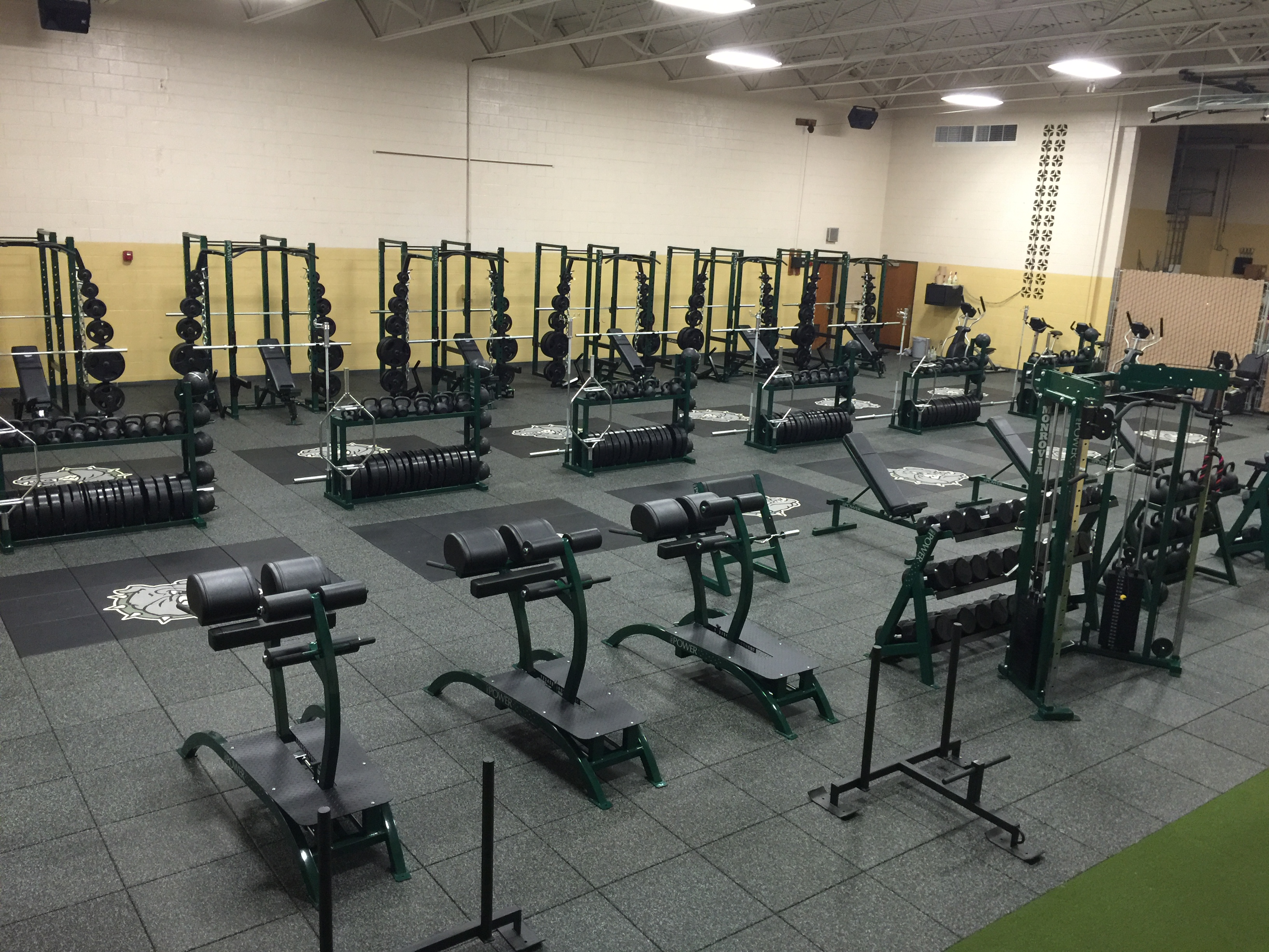 High school weight room in indiana pro industries